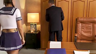 LETSDOEIT - French SCHOOL GIRL Gets Ass Drilled in MMF Sex