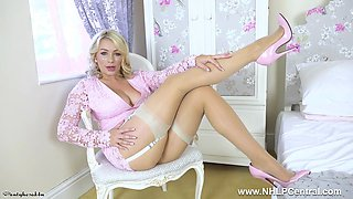 Busty blonde bombshell Penny Lee strips off for you to wank and spunk on nude pantyhose