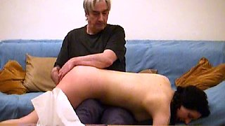 Violet again spanked and wanked