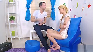 Doctor assists with hymen examination and defloration of virgin chick