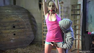 Skinny amateur Roxy Lee tied up and pleasured by a pervert