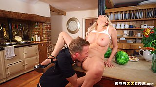 Slutty nudist Amber Jayne has naughty fun with her daughter's boyfriend