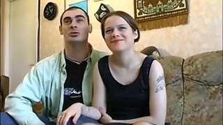 French couple in the casting couch goes to bisexual