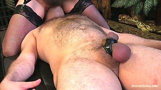 Bitchy mistress in sexy lingerie Cherry Torn fucks anus of submissive dude