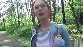 German Scout - College Redhead Teen Lia in Public Casting