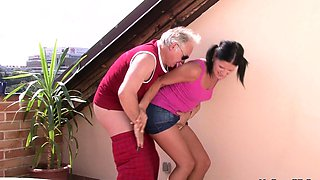 Young brunette sucks and rides his horny old cock