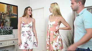 Stepbrother and two horny stepsisters
