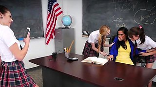 Kinky coeds on MILF teacher at school in foursome