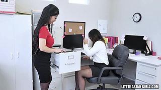 Hot Asian Secretaries In Pantyhose Fuck Boss in Lunchroom
