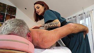Small boobs redhead Lola Fae enjoys riding and older man good