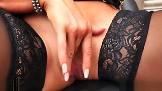 Blonde Milf plays with big tits fucks juicy pussy in office