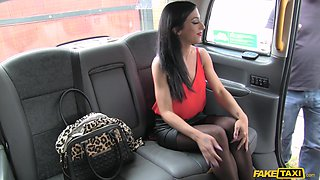 Sexy brunette in black stockings, rough sex on the back seat