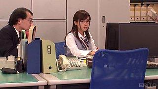 Minami Kojima covered in semen after riding a boss's boner