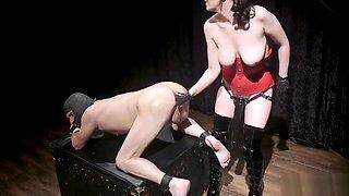 Male sub with dildo gag fucks mistress