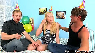 Threesome defloration is the best present for virgin\'s