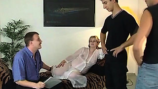 Pregnant Blonde Bimbo Fucking With Three Guys