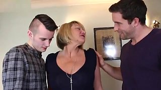 Hot british housewife sucking and fucking two guys at the same time