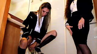 Young Latina Pees in Glass Sucks Pussy for Secretary Job Interview