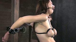 Tied up slut gets her twat fucked hard by crazy sex machine