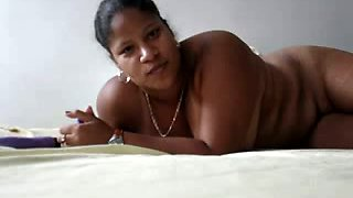 All alone chubby Indian housewife with big boobies goes solo