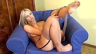 Blonde teases in nylon stockings