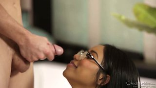 Shy ebony student Jenna Foxx is fucked by her white college fellow