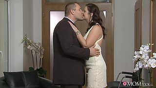 First time this chubby wife with huge tits  fucks with her step son