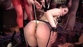 Huge tits mistress gets nipples licked