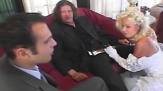 This blonde bride is ass-fucked by the groomsmen