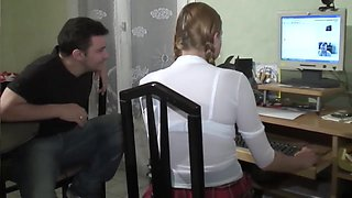 Young school girl gets plowed by her friends - Telsev