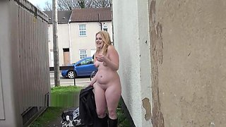 Blonde amateur babe Sophies outdoor striptease and public flashing of busty