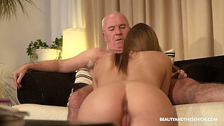 Bald old pervert is busy with eating pussy of slutty charming Anna G