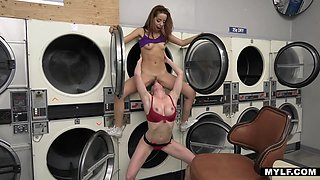 Hardcore lesbian sex in the laundry in broad daylight