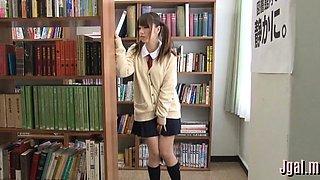 Japanese angel in a school uniform in a real hardcore scene