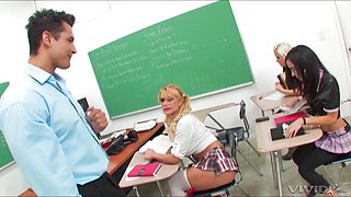 Busty college slut leaves the teacher in her