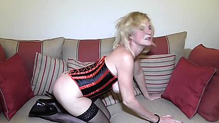 British housewife playing with her toy