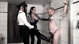 Kinky mistress Carmen Rivera and her associate punishes ass hole of one fat dude