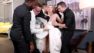 sexy bride gets fucked by a group of horny guys