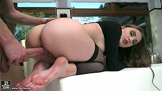 Attractive slender Russian GF in black lingerie Lena Reif enjoys cunnilingus