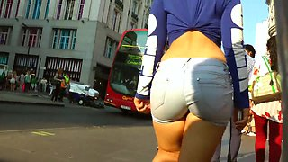 My buddy loves to find girls in public places to tape their booties